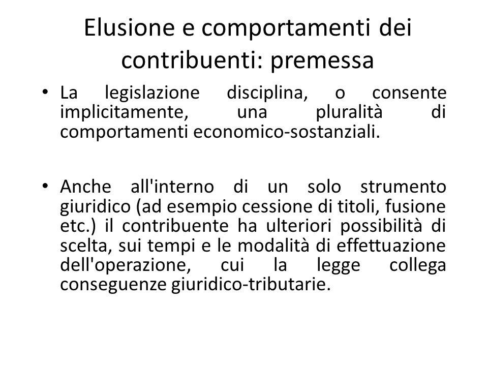 Elusione e comportamenti dei contribuenti: premessa La legislazione disciplina, o consente implicitamente, una pluralità di comportamenti economico-sostanziali.