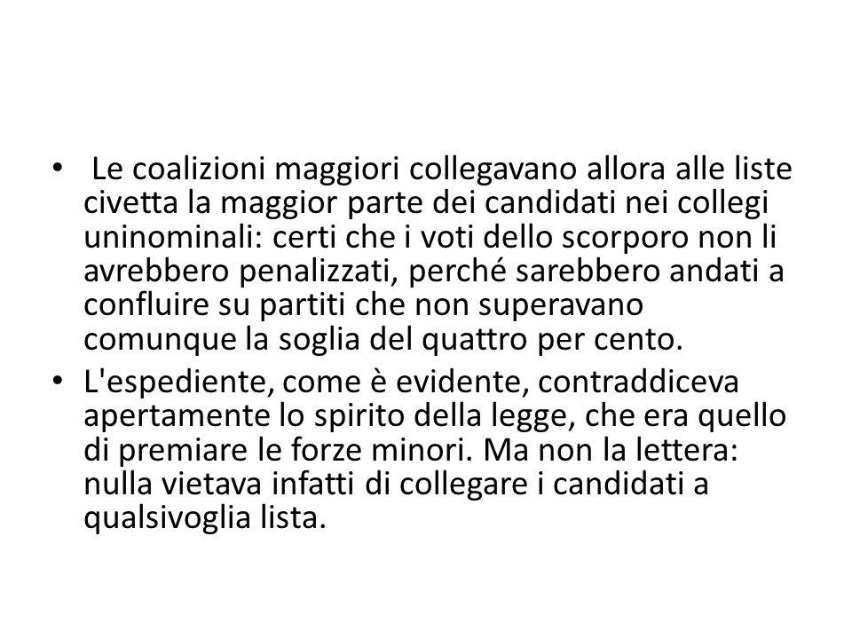 Le coalizioni maggiori collegavano allora alle liste civetta la maggior parte dei candidati nei collegi uninominali: certi che i voti dello scorporo n