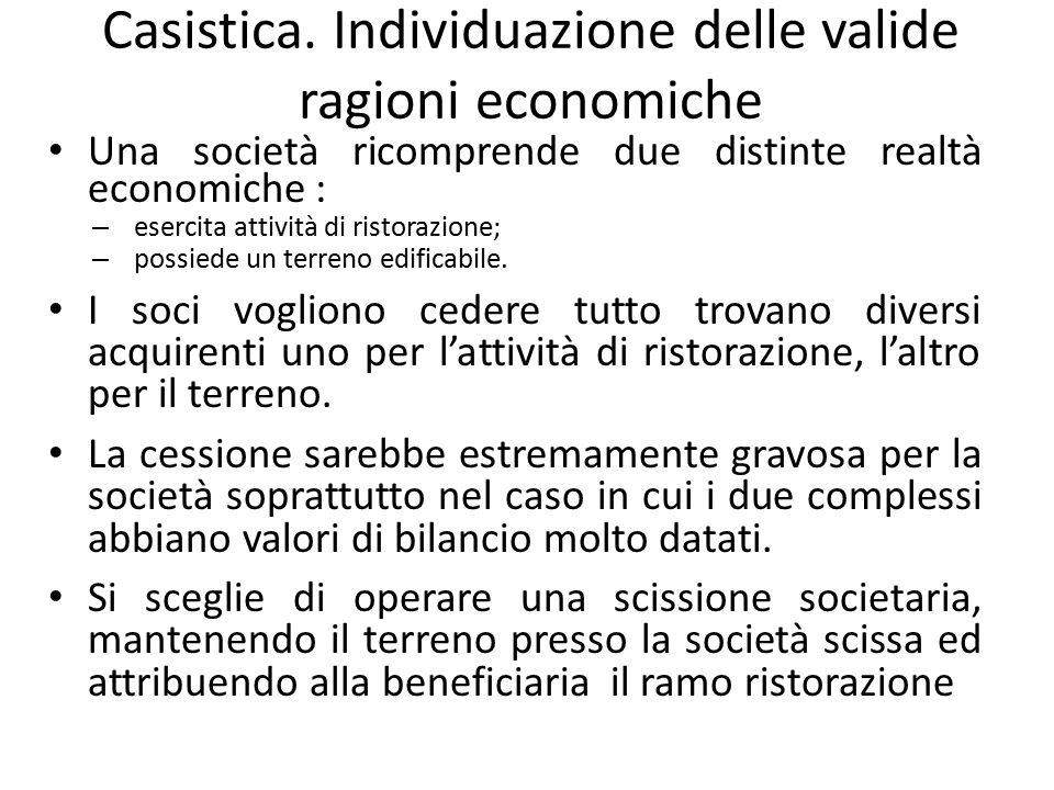 Casistica. Individuazione delle valide ragioni economiche Una società ricomprende due distinte realtà economiche : – esercita attività di ristorazione