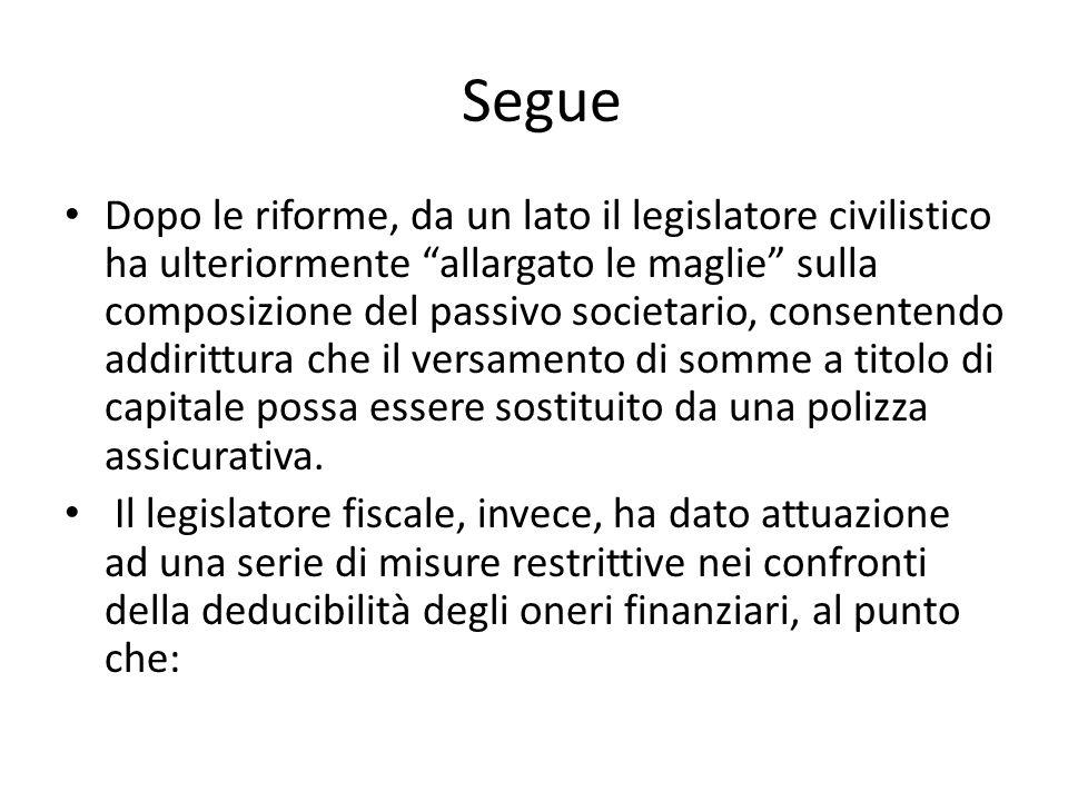 """Segue Dopo le riforme, da un lato il legislatore civilistico ha ulteriormente """"allargato le maglie"""" sulla composizione del passivo societario, consent"""
