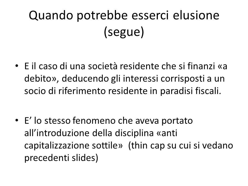 Quando potrebbe esserci elusione (segue) E il caso di una società residente che si finanzi «a debito», deducendo gli interessi corrisposti a un socio di riferimento residente in paradisi fiscali.