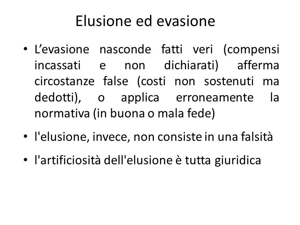 Elusione ed evasione L'evasione nasconde fatti veri (compensi incassati e non dichiarati) afferma circostanze false (costi non sostenuti ma dedotti),