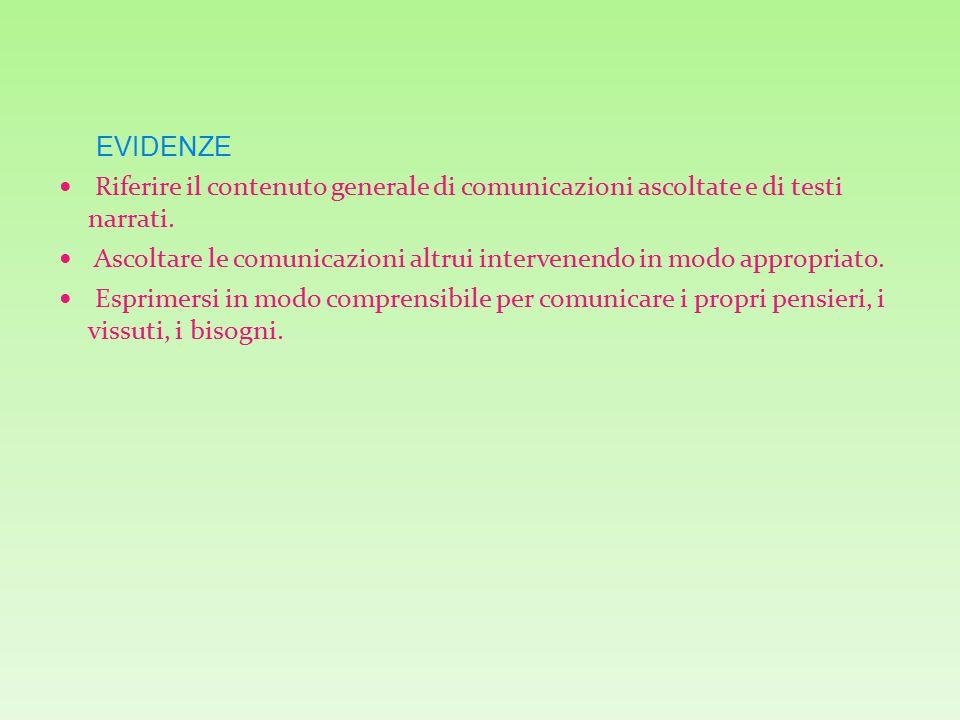 EVIDENZE Riferire il contenuto generale di comunicazioni ascoltate e di testi narrati.