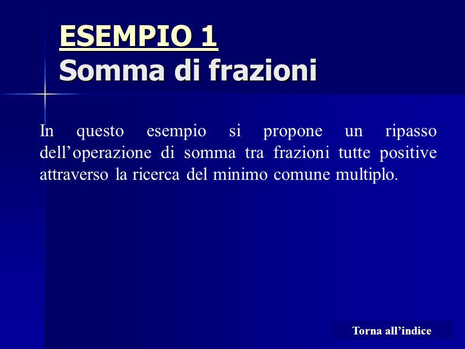 ESEMPIO 1 ESEMPIO 1 Somma di frazioni ESEMPIO 1 In questo esempio si propone un ripasso dell'operazione di somma tra frazioni tutte positive attraverso la ricerca del minimo comune multiplo.