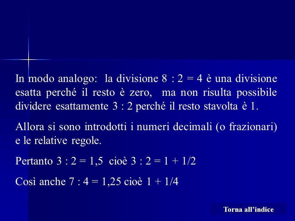 In modo analogo: la divisione 8 : 2 = 4 è una divisione esatta perché il resto è zero, ma non risulta possibile dividere esattamente 3 : 2 perché il r