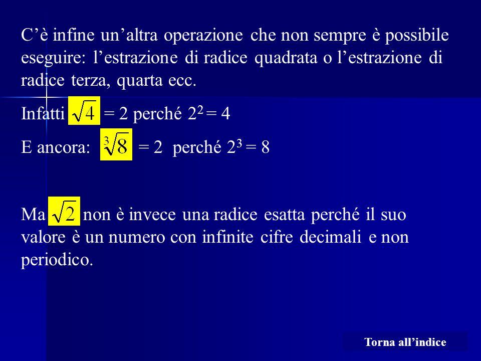 C'è infine un'altra operazione che non sempre è possibile eseguire: l'estrazione di radice quadrata o l'estrazione di radice terza, quarta ecc. Infatt