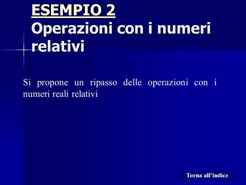 ESEMPIO 2 ESEMPIO 2 Operazioni con i numeri relativi ESEMPIO 2 Si propone un ripasso delle operazioni con i numeri reali relativi Torna all'indice