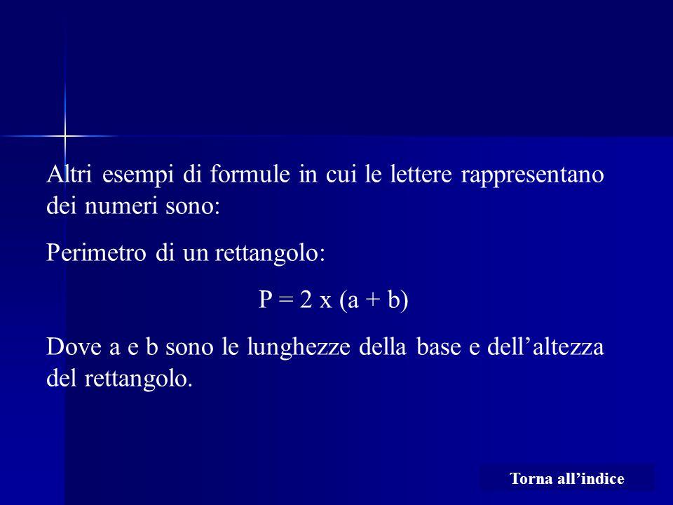 Altri esempi di formule in cui le lettere rappresentano dei numeri sono: Perimetro di un rettangolo: P = 2 x (a + b) Dove a e b sono le lunghezze dell