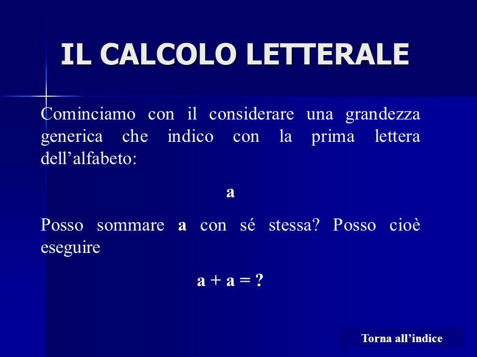 IL CALCOLO LETTERALE Cominciamo con il considerare una grandezza generica che indico con la prima lettera dell'alfabeto: a Posso sommare a con sé stessa.