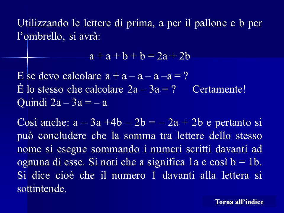 Utilizzando le lettere di prima, a per il pallone e b per l'ombrello, si avrà: a + a + b + b = 2a + 2b E se devo calcolare a + a – a – a –a = ? È lo s