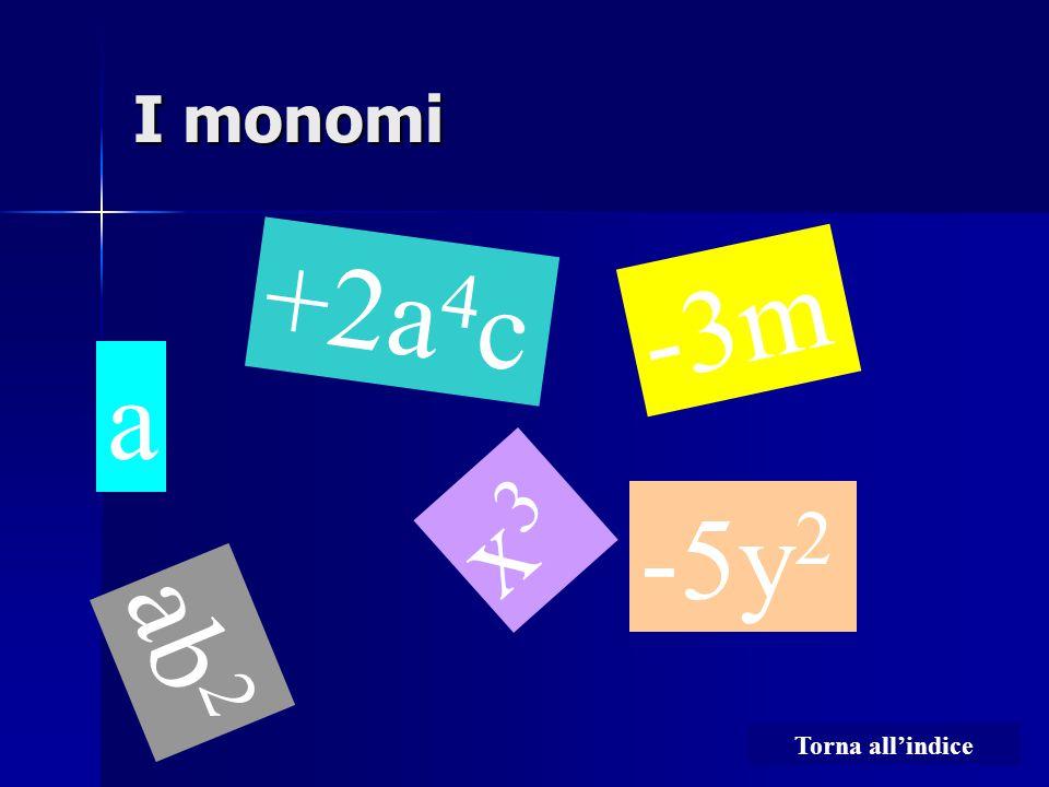I monomi a +2a 4 c x3x3 -3m -5y 2 ab 2 Torna all'indice