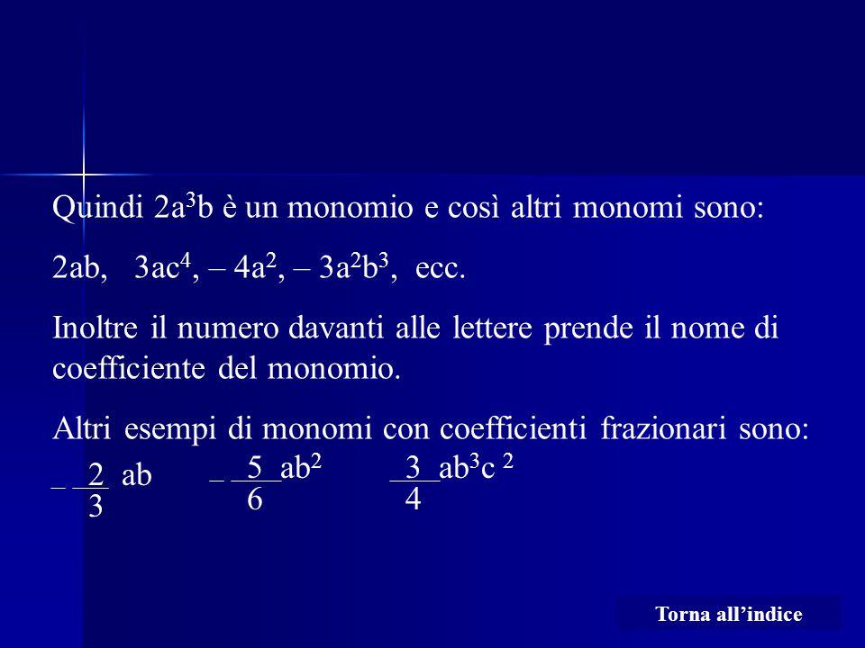 Quindi 2a 3 b è un monomio e così altri monomi sono: 2ab, 3ac 4, – 4a 2, – 3a 2 b 3, ecc. Inoltre il numero davanti alle lettere prende il nome di coe