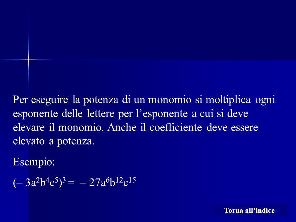 Per eseguire la potenza di un monomio si moltiplica ogni esponente delle lettere per l'esponente a cui si deve elevare il monomio. Anche il coefficien