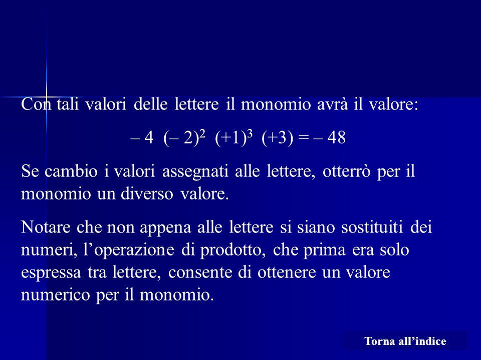 Con tali valori delle lettere il monomio avrà il valore: – 4 (– 2) 2 (+1) 3 (+3) = – 48 Se cambio i valori assegnati alle lettere, otterrò per il monomio un diverso valore.