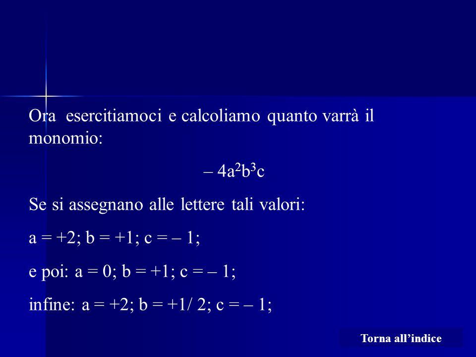 Ora esercitiamoci e calcoliamo quanto varrà il monomio: – 4a 2 b 3 c Se si assegnano alle lettere tali valori: a = +2; b = +1; c = – 1; e poi: a = 0; b = +1; c = – 1; infine: a = +2; b = +1/ 2; c = – 1; Torna all'indice