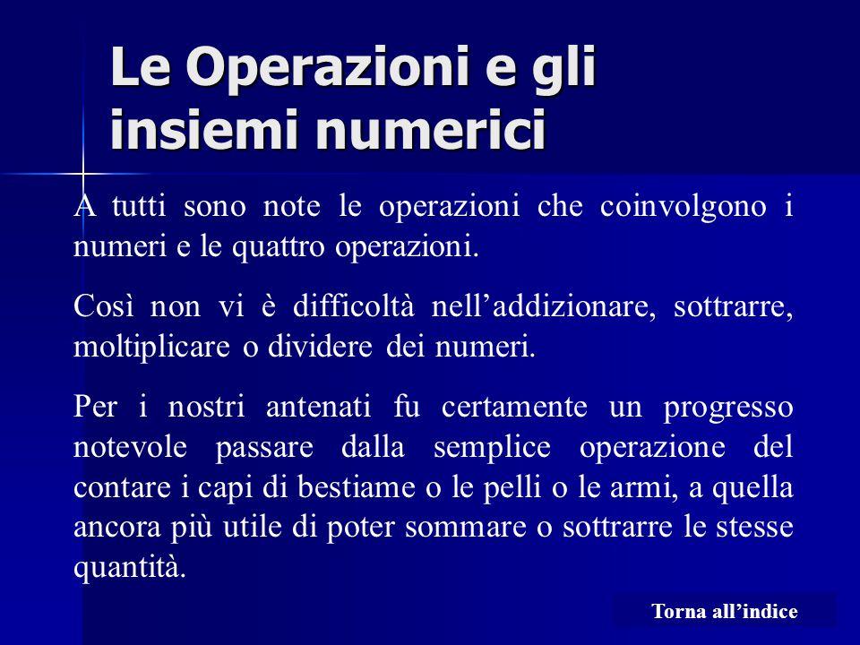 Le Operazioni e gli insiemi numerici A tutti sono note le operazioni che coinvolgono i numeri e le quattro operazioni. Così non vi è difficoltà nell'a