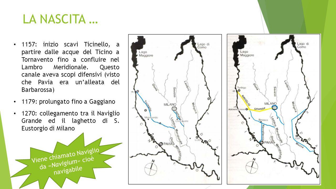 LA NASCITA … 1157: inizio scavi Ticinello, a partire dalle acque del Ticino a Tornavento fino a confluire nel Lambro Meridionale. Questo canale aveva