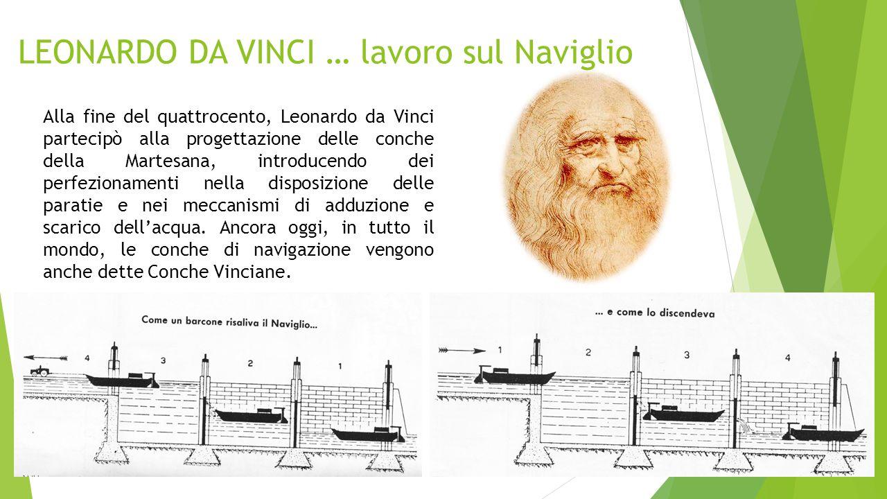 LEONARDO DA VINCI … lavoro sul Naviglio Alla fine del quattrocento, Leonardo da Vinci partecipò alla progettazione delle conche della Martesana, intro