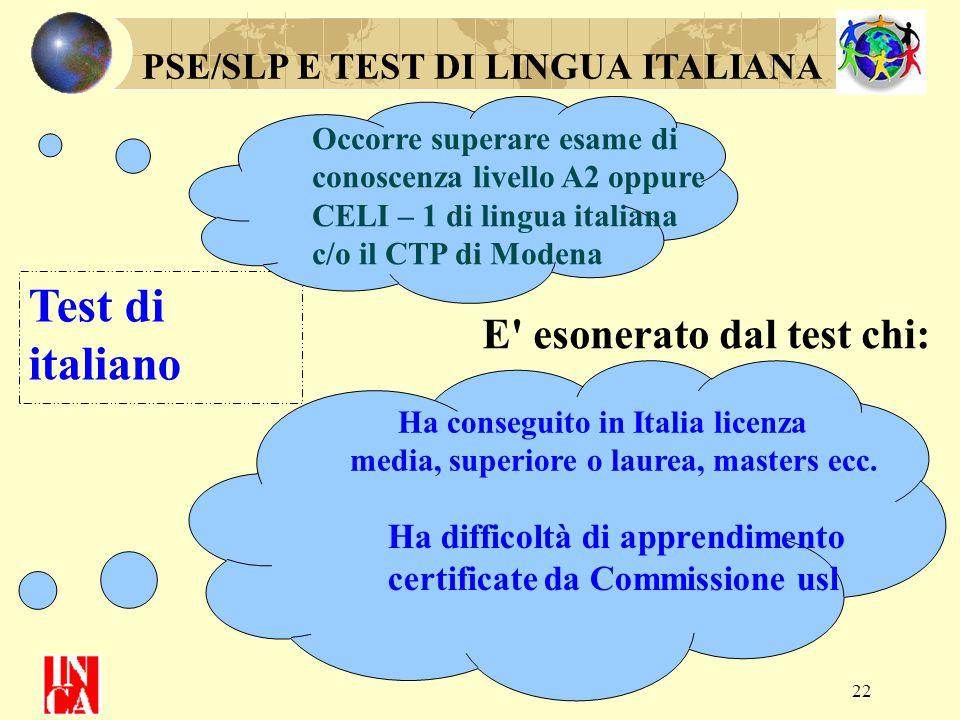 22 PSE/SLP E TEST DI LINGUA ITALIANA Test di italiano Occorre superare esame di conoscenza livello A2 oppure CELI – 1 di lingua italiana c/o il CTP di
