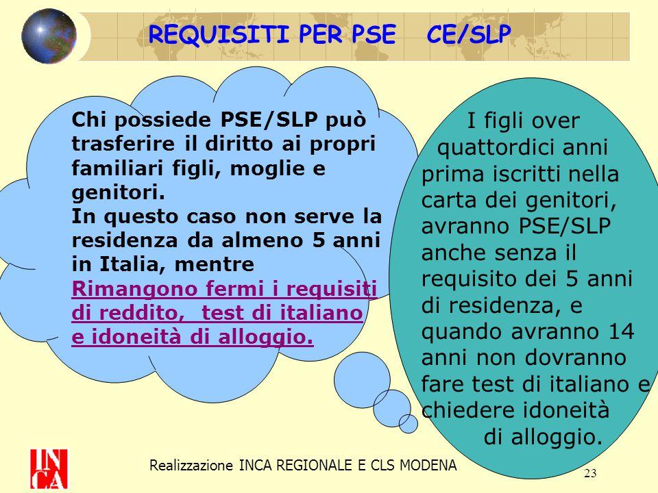 23 REQUISITI PER PSE CE/SLP Chi possiede PSE/SLP può trasferire il diritto ai propri familiari figli, moglie e genitori. In questo caso non serve la r