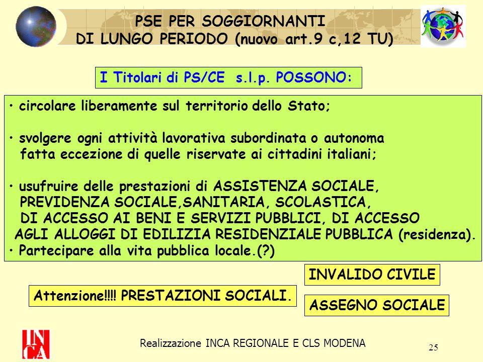 25 PSE PER SOGGIORNANTI DI LUNGO PERIODO (nuovo art.9 c,12 TU) I Titolari di PS/CE s.l.p. POSSONO: circolare liberamente sul territorio dello Stato; s