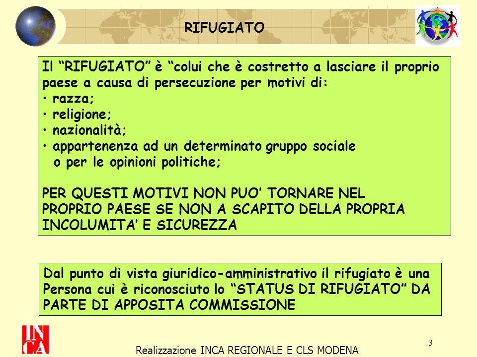 4 Realizzazione INCA REGIONALE E CLS MODENA I RIFUGIATI La Commissione può riconoscere, a seconda dei casi diversi tipi di protezione: ASILO POLITICO PROTEZIONE SUSSIDIARIA MOTIVI UMANITARI ASILO POLITICO (art 10 COST.) a chi non può godere, nel suo paese, delle libertà democratiche garantite in Italia dalla Cost.