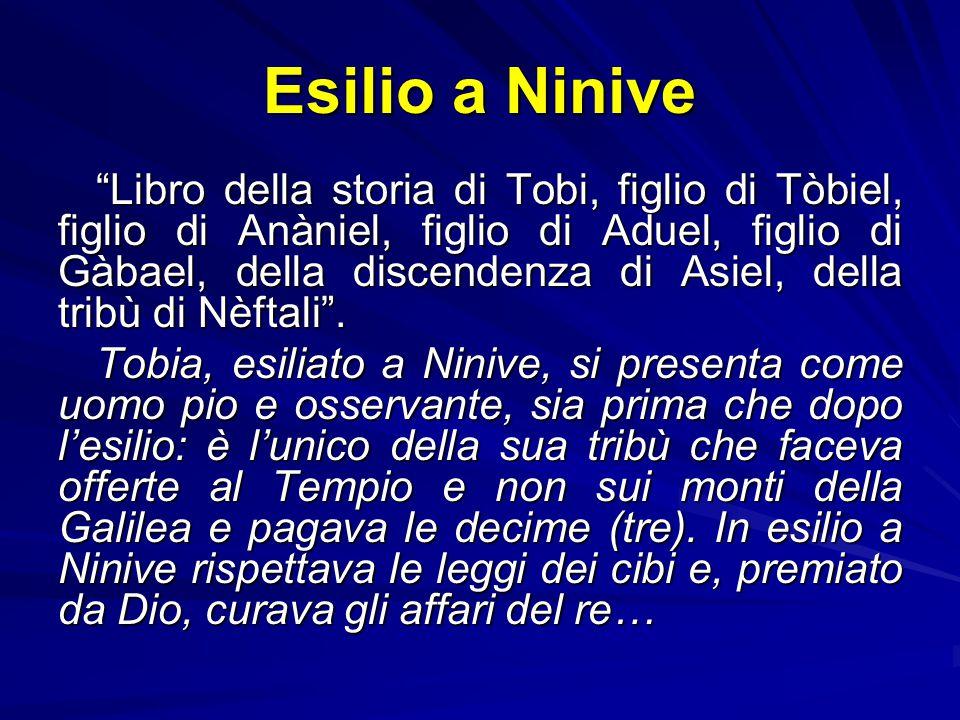 Una narrazione popolare 1.Scena d'esilio a Ninive: Tobi (cc. 1-2) 2.Scena d'esilio a Ecbatana: Sara (c. 3) 3.Scena di viaggio da Ninive a Ecbatana: To