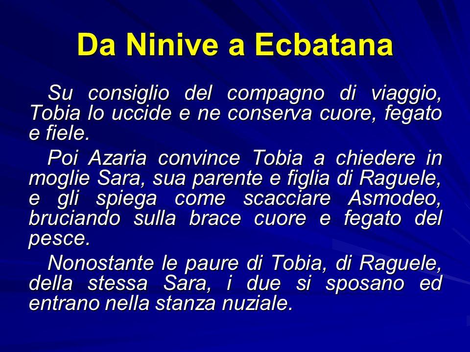 Da Ninive a Ecbatana Tobi chiama il figlio e lo manda a riscuotere dei soldi nella Media, dopo avergli fatto una lunga catechesi parenetica. Tobia cer