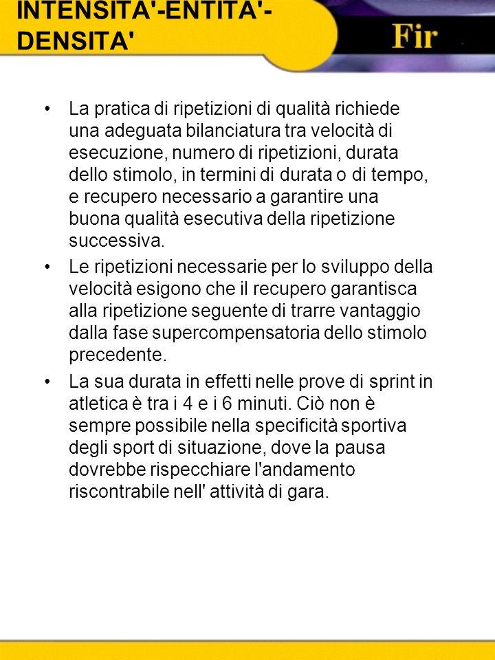 INTENSITA'-ENTITA'- DENSITA' La pratica di ripetizioni di qualità richiede una adeguata bilanciatura tra velocità di esecuzione, numero di ripetizioni