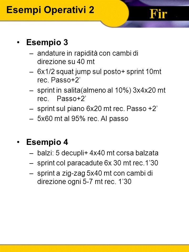 Esempi Operativi 2 Esempio 3 –andature in rapidità con cambi di direzione su 40 mt –6x1/2 squat jump sul posto+ sprint 10mt rec. Passo+2' –sprint in s