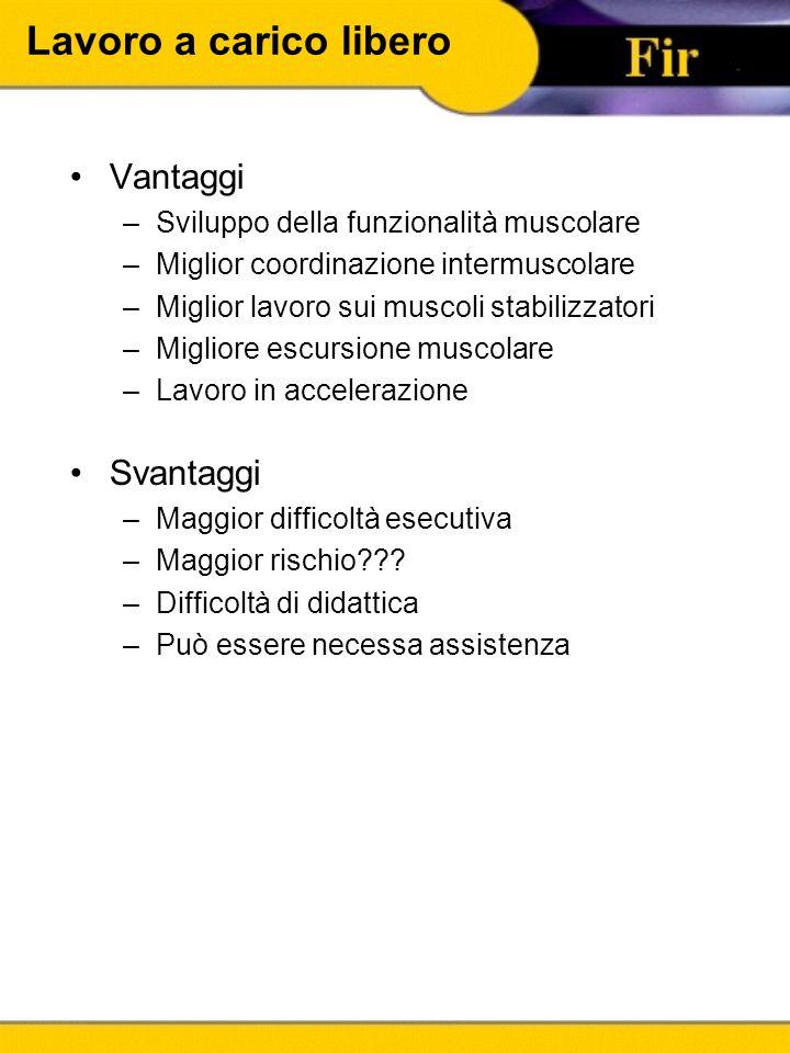 Lavoro a carico libero Vantaggi –Sviluppo della funzionalità muscolare –Miglior coordinazione intermuscolare –Miglior lavoro sui muscoli stabilizzator