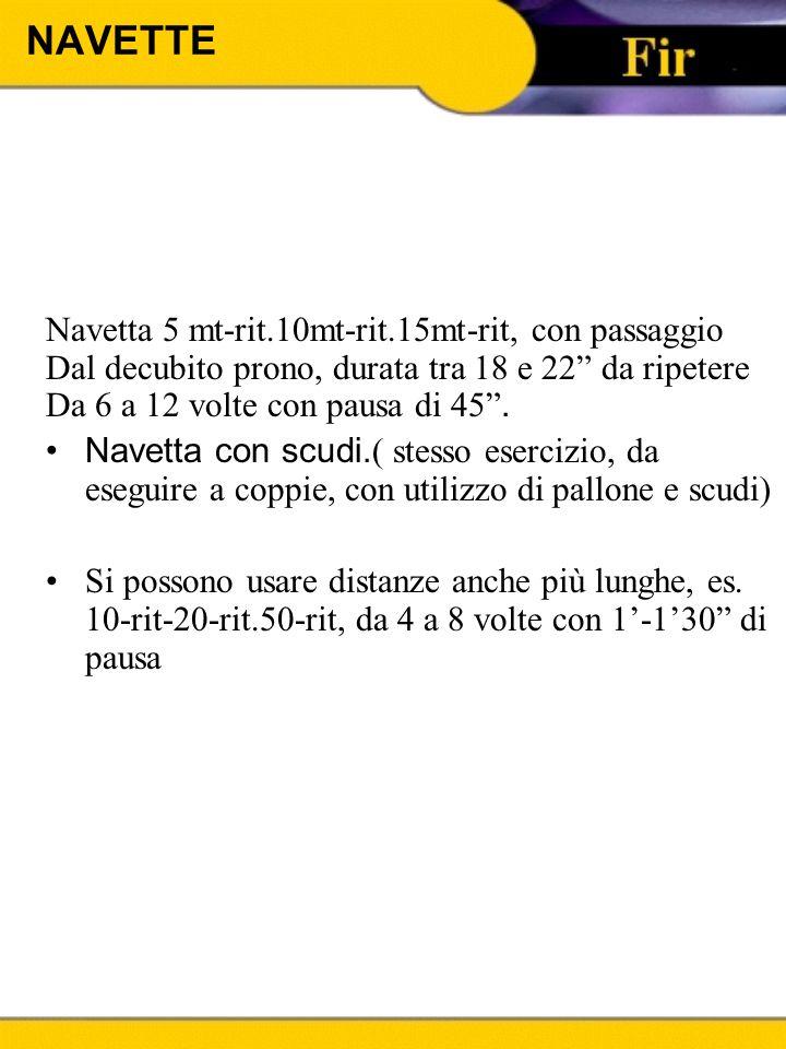 """NAVETTE Navetta 5 mt-rit.10mt-rit.15mt-rit, con passaggio Dal decubito prono, durata tra 18 e 22"""" da ripetere Da 6 a 12 volte con pausa di 45"""". Navett"""