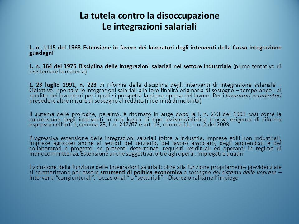 La tutela contro la disoccupazione Le integrazioni salariali L. n. 1115 del 1968 Estensione in favore dei lavoratori degli interventi della Cassa inte