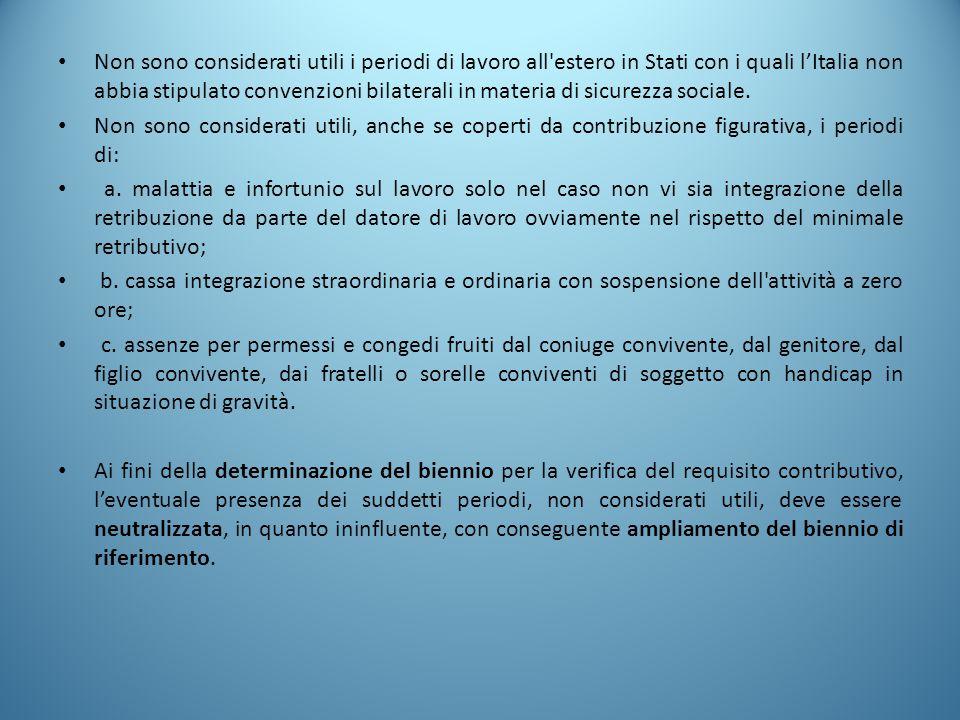 Non sono considerati utili i periodi di lavoro all'estero in Stati con i quali l'Italia non abbia stipulato convenzioni bilaterali in materia di sicur