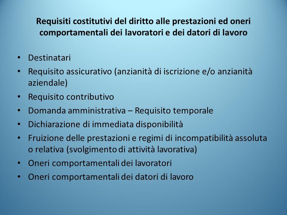 Requisiti costitutivi del diritto alle prestazioni ed oneri comportamentali dei lavoratori e dei datori di lavoro Destinatari Requisito assicurativo (