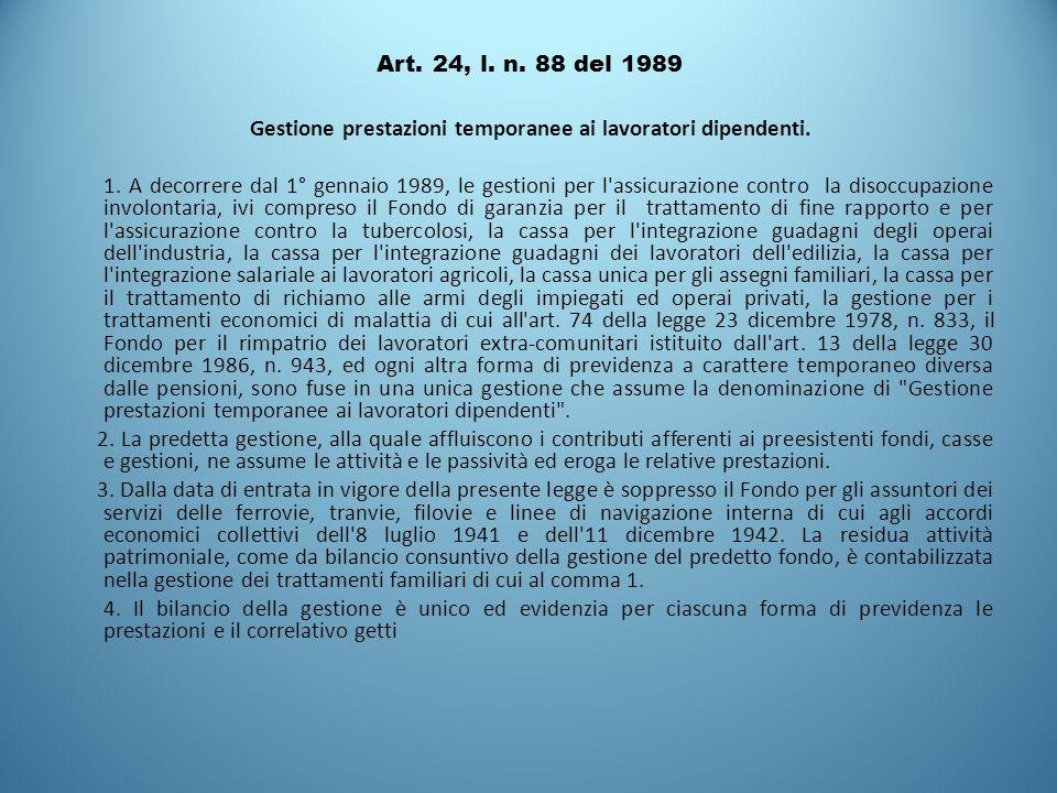 Art. 24, l. n. 88 del 1989 Gestione prestazioni temporanee ai lavoratori dipendenti. 1. A decorrere dal 1° gennaio 1989, le gestioni per l'assicurazio