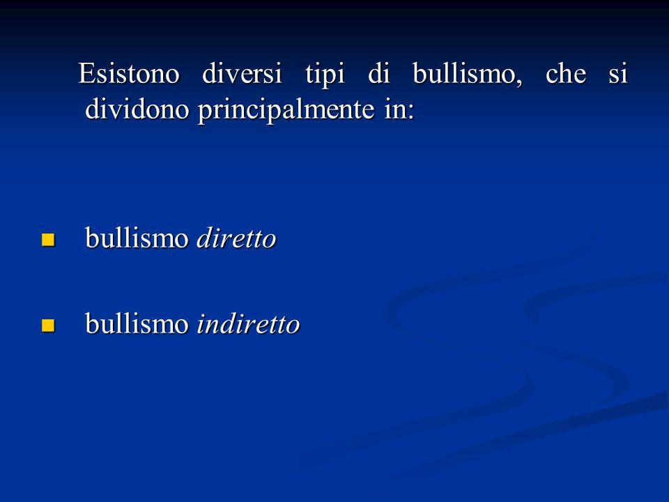 Esistono diversi tipi di bullismo, che si dividono principalmente in: Esistono diversi tipi di bullismo, che si dividono principalmente in: bullismo diretto bullismo diretto bullismo indiretto bullismo indiretto