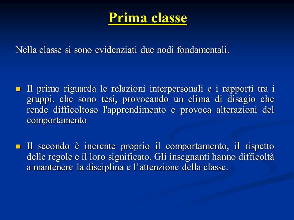 Nella classe si sono evidenziati due nodi fondamentali.