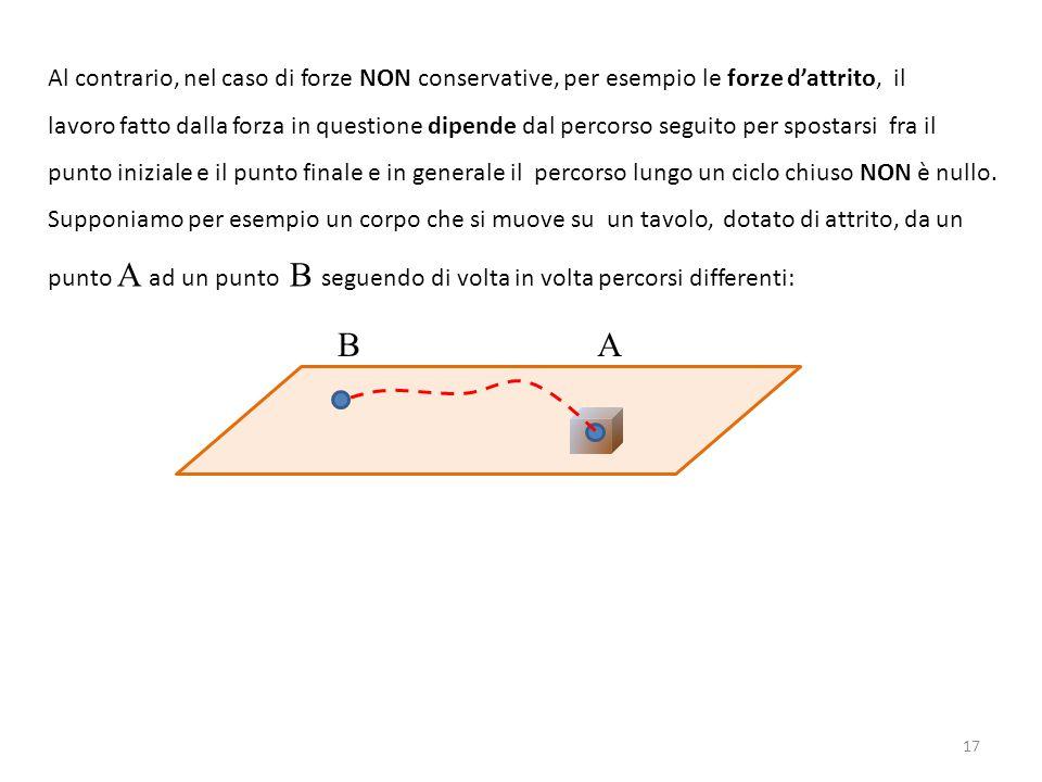 Al contrario, nel caso di forze NON conservative, per esempio le forze d'attrito, il lavoro fatto dalla forza in questione dipende dal percorso seguito per spostarsi fra il punto iniziale e il punto finale e in generale il percorso lungo un ciclo chiuso NON è nullo.