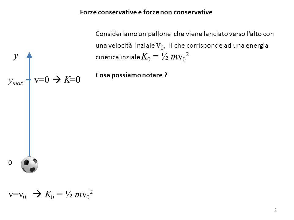 Forze conservative e forze non conservative Consideriamo un pallone che viene lanciato verso l'alto con una velocità inziale v 0, il che corrisponde ad una energia cinetica inziale K 0 = ½ mv 0 2 Cosa possiamo notare .