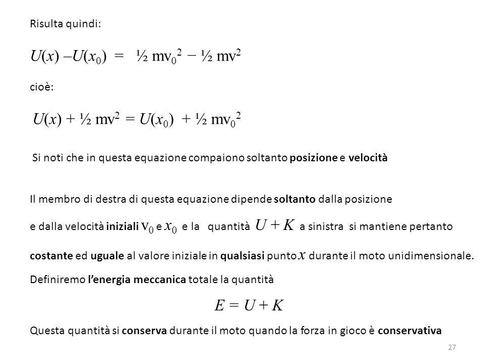 Risulta quindi: U(x) –U(x 0 ) = ½ mv 0 2 − ½ mv 2 cioè: U(x) + ½ mv 2 = U(x 0 ) + ½ mv 0 2 Si noti che in questa equazione compaiono soltanto posizione e velocità Il membro di destra di questa equazione dipende soltanto dalla posizione e dalla velocità iniziali v 0 e x 0 e la quantità U + K a sinistra si mantiene pertanto costante ed uguale al valore iniziale in qualsiasi punto x durante il moto unidimensionale.