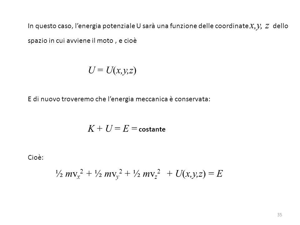 35 In questo caso, l'energia potenziale U sarà una funzione delle coordinate x,y, z dello spazio in cui avviene il moto, e cioè U = U(x,y,z) E di nuovo troveremo che l'energia meccanica è conservata: K + U = E = costante Cioè: ½ mv x 2 + ½ mv y 2 + ½ mv z 2 + U(x,y,z) = E