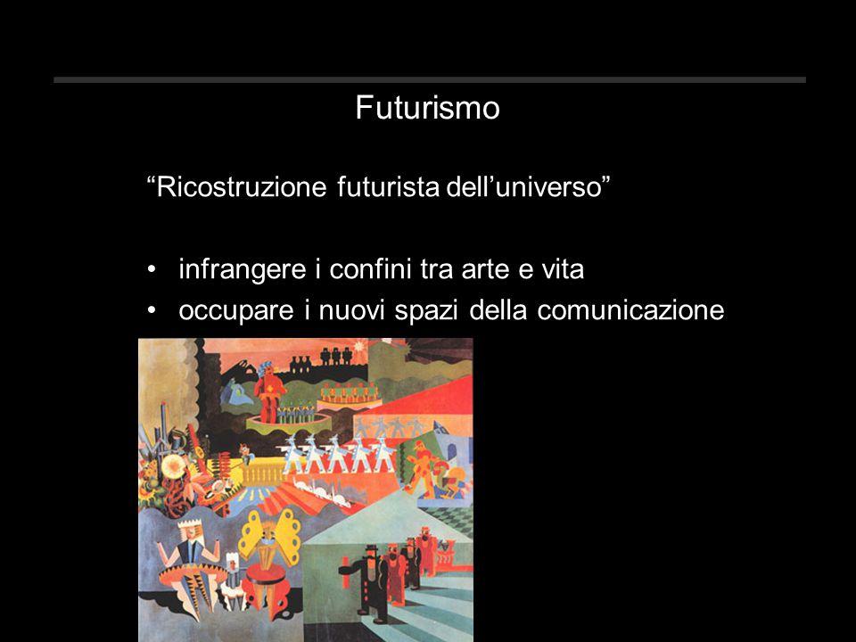 Futurismo Ricostruzione futurista dell'universo infrangere i confini tra arte e vita occupare i nuovi spazi della comunicazione