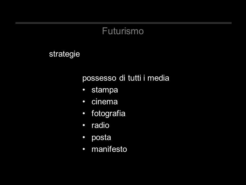 Futurismo possesso di tutti i media stampa cinema fotografia radio posta manifesto strategie