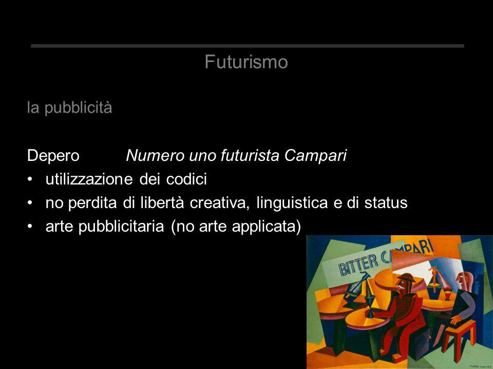 Futurismo Depero Numero uno futurista Campari utilizzazione dei codici no perdita di libertà creativa, linguistica e di status arte pubblicitaria (no arte applicata) la pubblicità