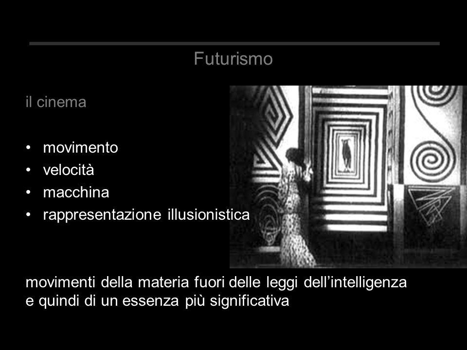 Futurismo movimento velocità macchina rappresentazione illusionistica movimenti della materia fuori delle leggi dell'intelligenza e quindi di un essenza più significativa il cinema