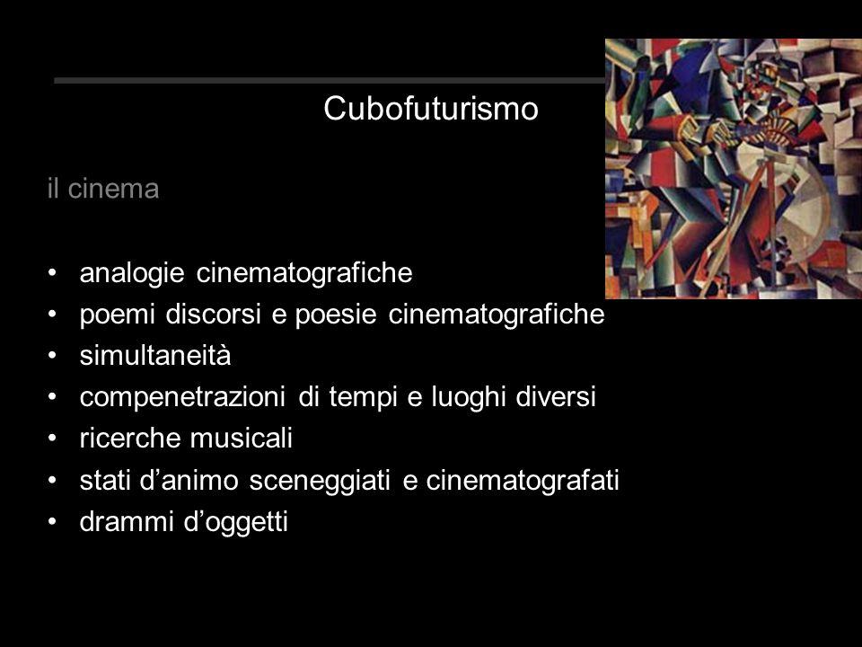 Cubofuturismo analogie cinematografiche poemi discorsi e poesie cinematografiche simultaneità compenetrazioni di tempi e luoghi diversi ricerche musicali stati d'animo sceneggiati e cinematografati drammi d'oggetti il cinema