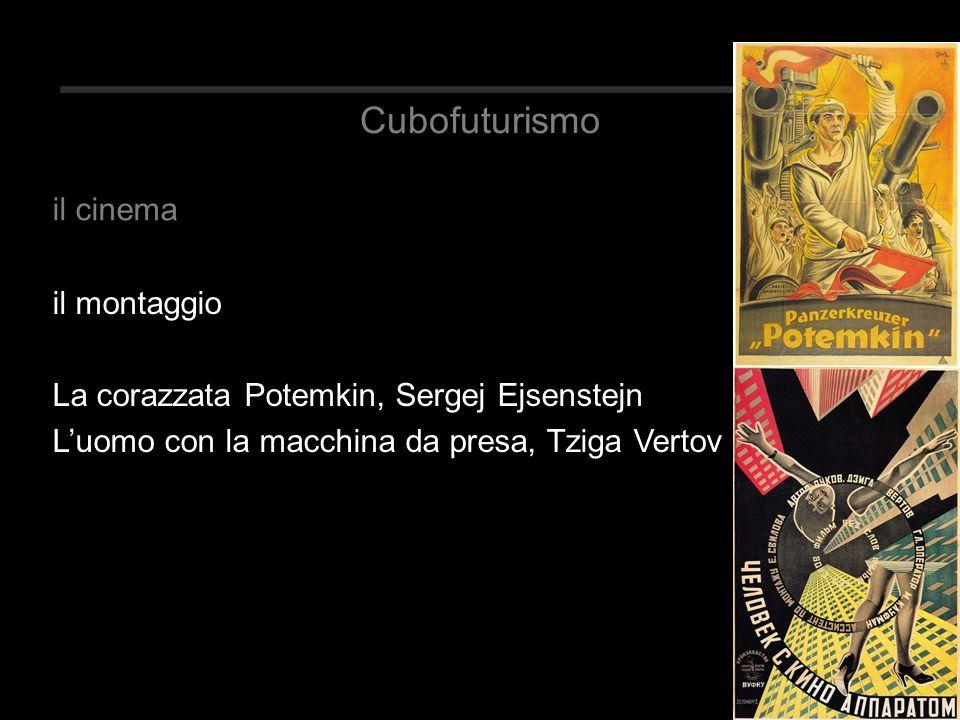 Cubofuturismo il montaggio La corazzata Potemkin, Sergej Ejsenstejn L'uomo con la macchina da presa, Tziga Vertov il cinema