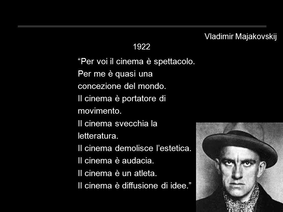 Vladimir Majakovskij 1922 Per voi il cinema è spettacolo.