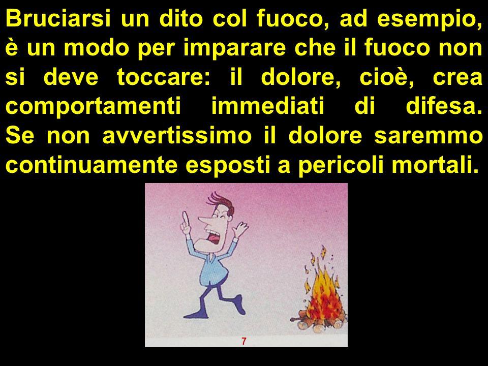 Bruciarsi un dito col fuoco, ad esempio, è un modo per imparare che il fuoco non si deve toccare: il dolore, cioè, crea comportamenti immediati di dif